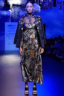 Multi-Coloured Pleated Maxi Dress by Kanika Goyal