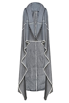 Grey Denim Sleeveless Waterfall Shrug by Kapda By Urvashi Kaur