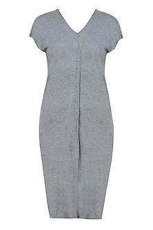 Grey jersey asymmetric sleeveless long top by Kapda By Urvashi Kaur