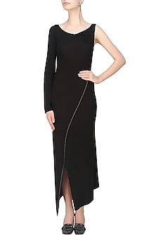 Black rib panelled single sleeved jersey dress by Kapda By Urvashi Kaur