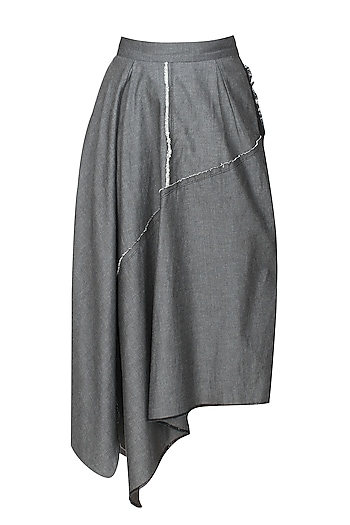 Grey denim asymmetric waterfall skirt by Kapda By Urvashi Kaur