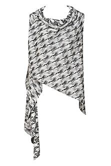 Grey and black sleeveless kimono style wrap jacket by Kapda By Urvashi Kaur