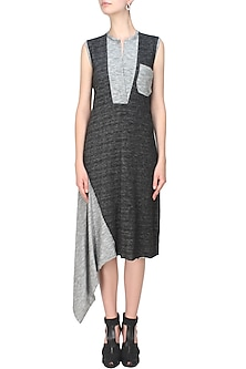 Black and grey woven jersey asymmetric dress by Kapda By Urvashi Kaur