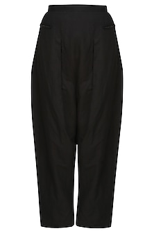 Black cotton jersey trouser pants by Kapda By Urvashi Kaur