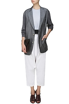 Grey full sleeves denim jacket by Kapda By Urvashi Kaur