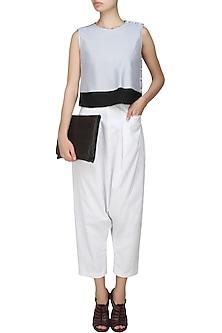 White cotton jersey trouser pants by Kapda By Urvashi Kaur
