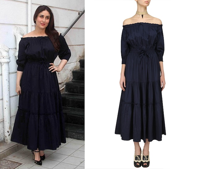 Navy Blue Off Shoulder Dress by Ankita