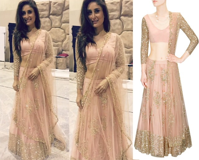 Peach and gold floral sequins embroidered lehenga set by Astha Narang