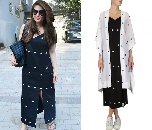 White Hot Dot Kaftan Jacket with Black Slip Dress by Masaba