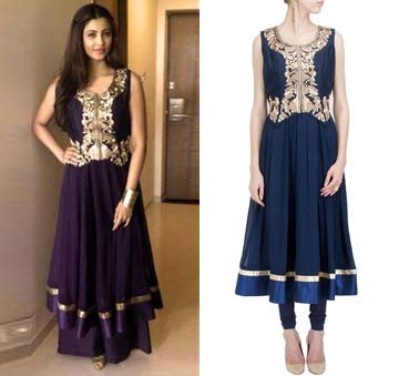 Navy blue anarkali set with daisy waistcoat by Aharin India