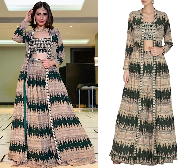 Bottle Green Embroidered Crop Top With Sharara Pants & Printed Cape by Bhumika Sharma