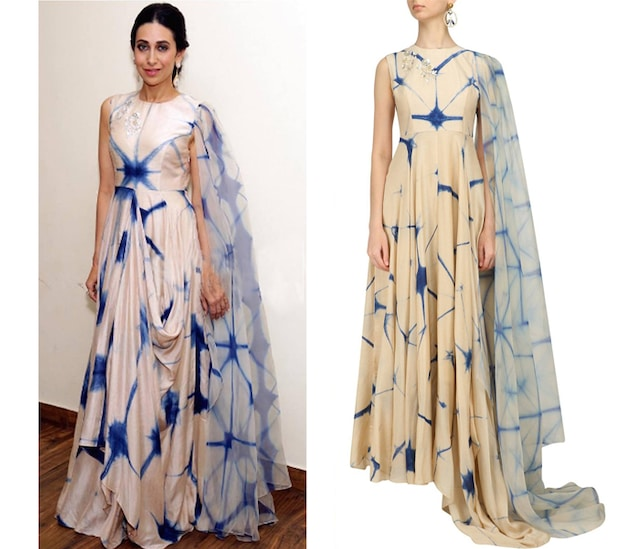 Beige and Blue Shibori One Side Dupatta Kalidaar Kurta by Anoli Shah