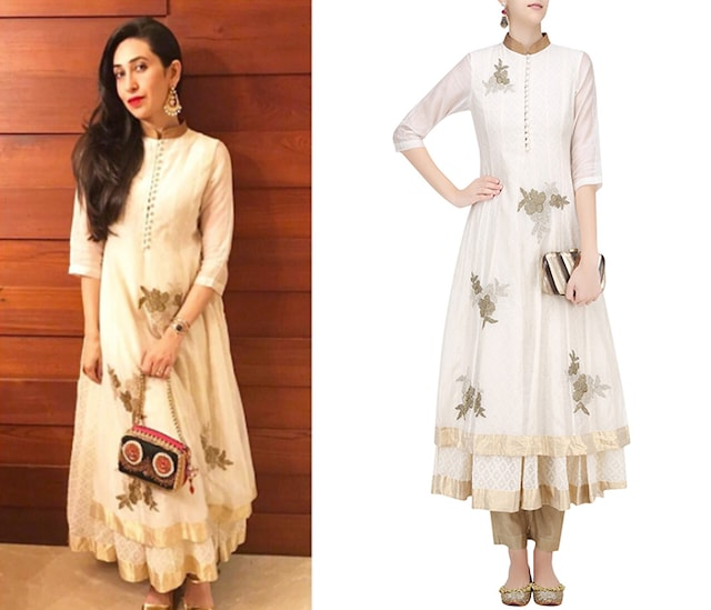 Off White Floral Embroidered Kalidaar Anarkali with Gold Pants by Myoho