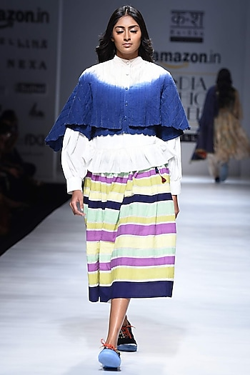 Multicolor Hand Applique Stripe Skirt by Ka-Sha