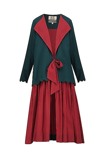 Bottle Green Front Tie-Up Pleated Dress by Ka-Sha