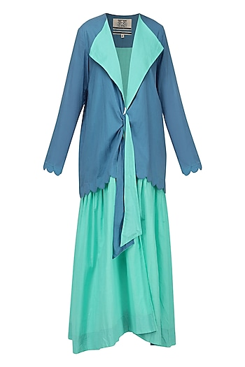Teal Front Tie-Up Dress by Ka-Sha