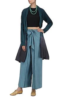 Grey and Blue Elasticated Flared Pants by Ka-Sha