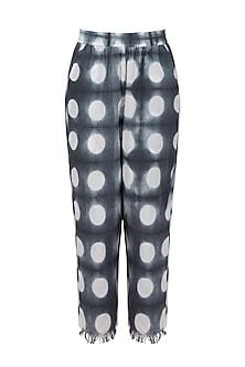 Grey and White Clamp Dyed Pants by Ka-Sha