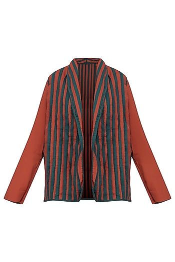 Red and Blue Front Open Striped Jacket by Ka-Sha
