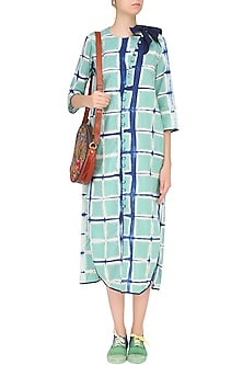 Old Green Clamp Dyed Tunic Style Dress by Ka-Sha