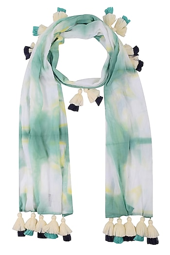 Old Green Clamp Dyed Scarf With Tassel Hangings by Ka-Sha