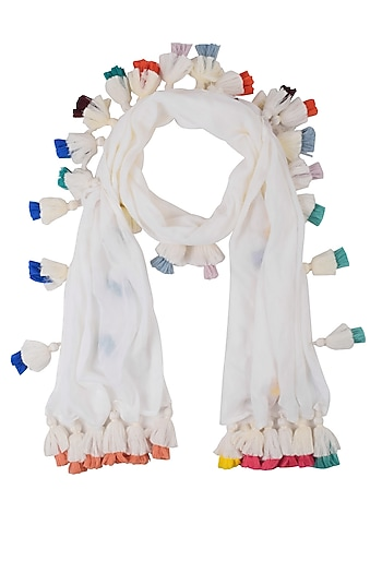 Off White Scarf With Multicolor Tassel Hangings by Ka-Sha