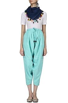 Pale Blue Stitch Dyed Salwar Style Pants by Ka-Sha