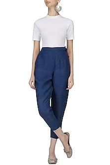 Blue Straight Fitted Pants by Ka-Sha