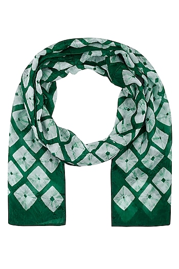 Green Hand Tye and Dye Bandhani Scarf by Ka-Sha