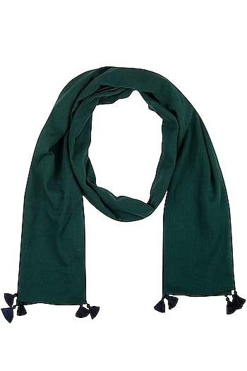 Green Tassel Basic Scarf by Ka-Sha