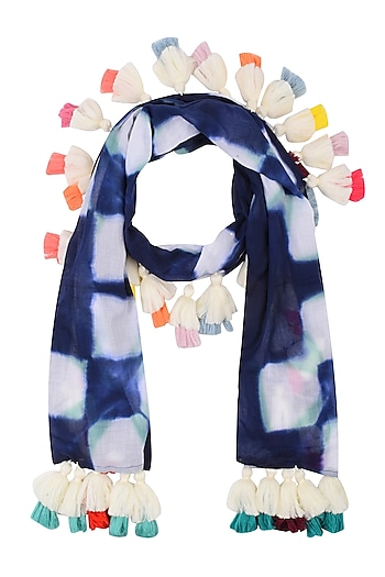 Navy Blue Clamp Dyed Scarf with Tassel Hangings by Ka-Sha