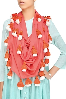 Pink Orange Scarf with Multicolor Tassel Hangings by Ka-Sha