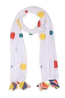 Off White 3D Embroidered Round Motifs Scarf by Ka-Sha