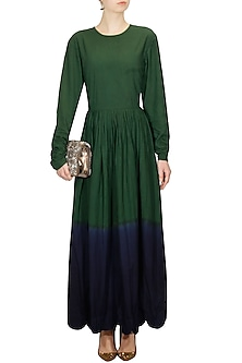 Emerald green and navy dip dyed long dress by Ka-Sha