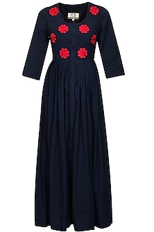 Navy and red floral embroidered long dress by Ka-Sha