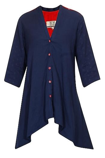 Navy bandhni front open asymmetrical jacket by Ka-Sha