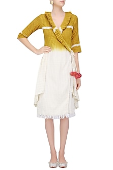 Off White and Mustard Ombre Shaded Dress by Ka-Sha