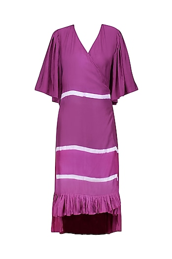 Berry Color Crossover Style Clamp Dyed Belt and Frill Dress by Ka-Sha