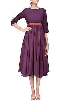 Berry Color Calf Length Empire Line and Frilled Dress by Ka-Sha