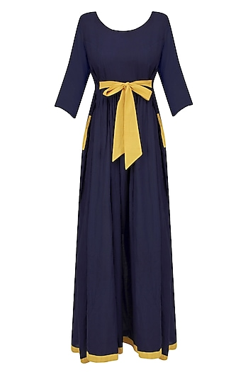 Navy Blue and Mustard Maxi Dress by Ka-Sha