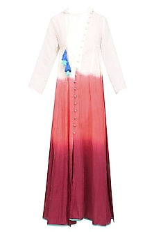 Plum, White and Orange Dip Dyed Calf Length Chi Dress by Ka-Sha