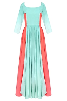 Blue Ombre Dyed Full Length Knobu Dress by Ka-Sha