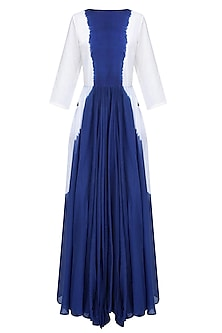 Blue Dip Dyed Bow Detail Full Length Dres by Ka-Sha