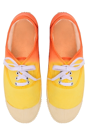 Yellow and Orange Dip Dyed Canvas Shoes by Ka-Sha