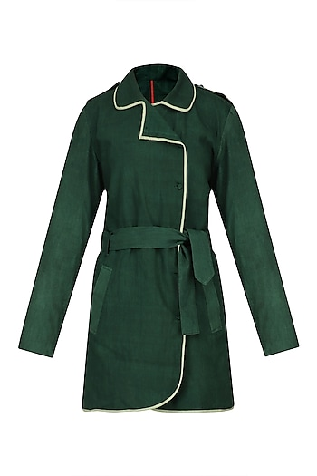 Green and Lime Reversible Trench Jacket by Ka-Sha