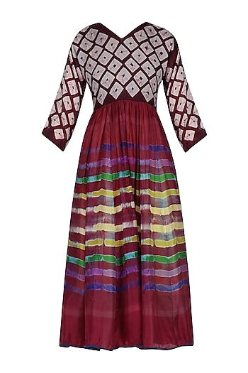 Maroon Bandhani and Clamp Dyed Fit and Flared Dress by Ka-Sha