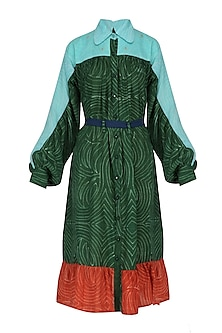 Green, Pale Blue and Red Hand Dyed Frilled Dress by Ka-Sha