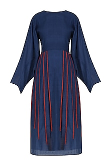 Blue and Red Pleated Bottom Fit and Flared Dress by Ka-Sha