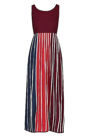 Maroon Pleated Bottom Sleeveless Dress by Ka-Sha