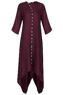 Maroon Asymmetrical Hem Tunic by Ka-Sha